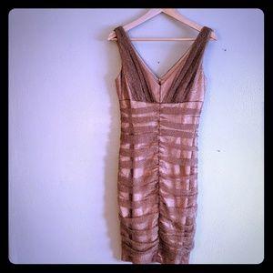 David Meister gold sheath dress